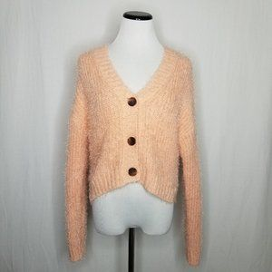 Wild Fable LS V-Neck Crop Button-Front Fuzzy Cardi